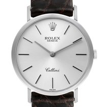 Rolex Cellini pre-owned 30.5mm Silver Leather