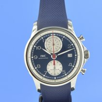IWC Portuguese Yacht Club Chronograph pre-owned 44.6mm Blue Chronograph Date Fold clasp