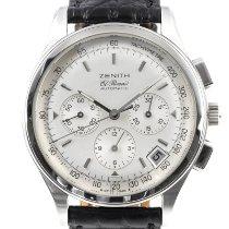 Zenith El Primero Chronograph pre-owned 38mm Silver Chronograph Date Crocodile skin