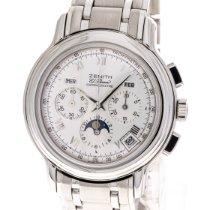 Zenith El Primero gebraucht 40mm Silber Mondphase Chronograph Datum Monatsanzeige Stahl