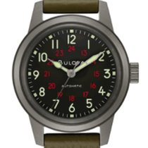 Bulova Military Steel 38mm Black Arabic numerals