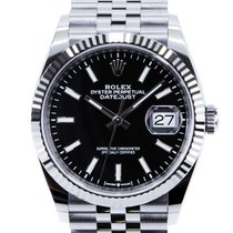 Rolex Datejust Сталь 36mm Черный Без цифр