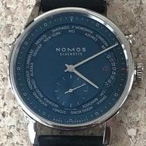 NOMOS Zürich Weltzeit pre-owned 39.9mm Blue GMT Leather
