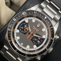 Tudor Steel Automatic Black No numerals 42mm pre-owned Heritage Chrono