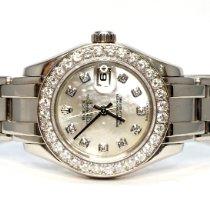 Rolex Lady-Datejust Pearlmaster Ouro branco 29mm Madrepérola Sem números
