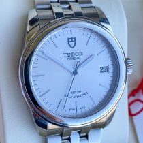 Tudor Glamour Date pre-owned 36mm Silver Date Steel