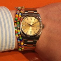Rolex Oyster Perpetual 34 Steel 34mm Champagne Arabic numerals