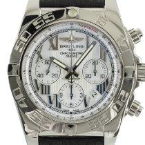 Breitling Chronomat 44 gebraucht 44mm Weiß Chronograph Datum Rindsleder