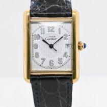 Cartier Silver Quartz White Arabic numerals 26mm pre-owned Tank (submodel)
