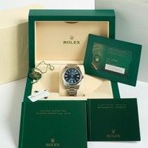 Rolex Oyster Perpetual Acier 41mm Bleu Sans chiffres