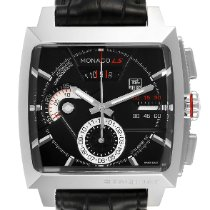 TAG Heuer Monaco Calibre 12 pre-owned 40.5mm Black Chronograph Date Leather
