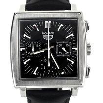 TAG Heuer Monaco pre-owned 38mm Black Chronograph Date Calf skin
