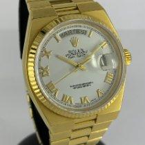 Rolex Day-Date Oysterquartz Or jaune 36mm Argent Sans chiffres