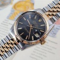 Rolex Datejust Gold/Stahl 36mm Schwarz Keine Ziffern