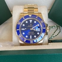 Rolex Yellow gold Automatic Blue No numerals 40mm new Submariner Date