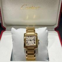 Cartier Tank Française Gult gull 28mm Sølv Romersk