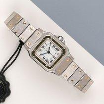 Cartier Santos Galbée Золото/Cталь 24mm Белый