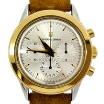 Universal Genève Compax Gold/Steel 37mm Silver No numerals