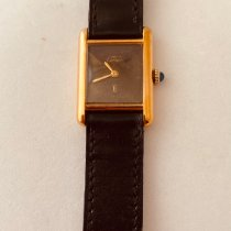Cartier Silver Manual winding Black pre-owned Tank (submodel)