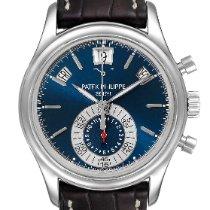 Patek Philippe Annual Calendar Chronograph pre-owned 40.5mm Blue Chronograph Date Month Annual calendar Leather