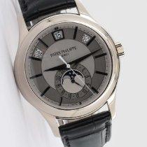 Patek Philippe Annual Calendar gebraucht 40mm Silber Mondphase Datum Wochentagsanzeige Monatsanzeige Ewiger Kalender Leder