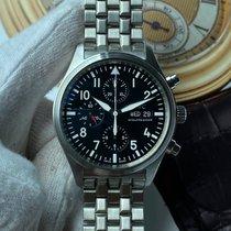 萬國 Pilot Chronograph 鋼 42mm 黑色 阿拉伯數字