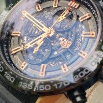 TAG Heuer Titanium Automatic Black No numerals 45mm pre-owned Carrera Calibre HEUER 01