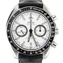 Omega Speedmaster Racing pre-owned 44mm White Chronograph Date Crocodile skin