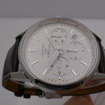 Longines Column-Wheel Chronograph Staal 40mm Zilver Geen cijfers