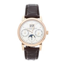 A. Lange & Söhne Rose gold Automatic Silver No numerals 38mm pre-owned Saxonia