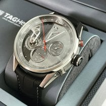 TAG Heuer Carrera pre-owned 46mm Grey Chronograph Leather