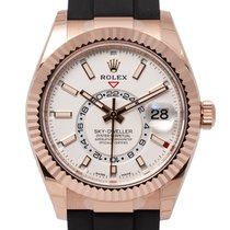 Rolex Rose gold Automatic White No numerals 42mm new Sky-Dweller