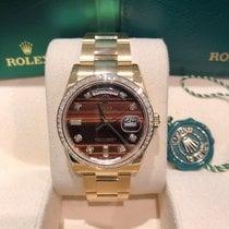 Rolex Day-Date Gulguld 36mm Brun Inga siffror
