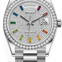 Rolex 128349RBR Pave Rainbow Or blanc 2021 Day-Date 36 36mm nouveau