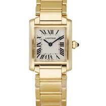 Cartier Tank Française pre-owned 20mm White Yellow gold