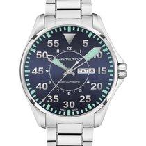 Hamilton Khaki Pilot Day Date Steel 46mm Blue Arabic numerals