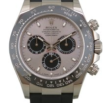 Rolex Daytona Or blanc 40mm Argent Sans chiffres