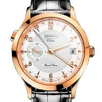 Zenith Elite Dual Time Rose gold 39mm Silver Arabic numerals