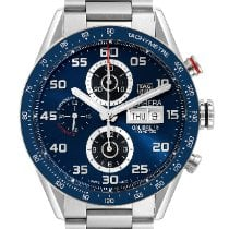 TAG Heuer Carrera Calibre 16 pre-owned 43mm Blue Chronograph Date Tachymeter Steel