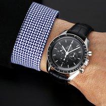 Omega Speedmaster Professional Moonwatch použité 42mm Černá Chronograf Tachymetr Krokodýlí kůže