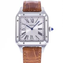 Cartier Santos Dumont pre-owned 31.5mm Silver Leather