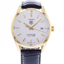 TAG Heuer Yellow gold Automatic Silver 39mm pre-owned Carrera