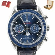 Omega Speedmaster Professional Moonwatch Moonphase pre-owned 44.2mm Blue Moon phase Chronograph Tachymeter Leather