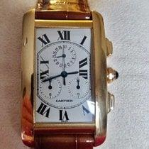 Cartier Tank Américaine Желтое золото 26mm Белый Римские
