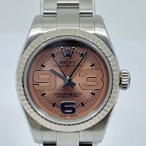 Rolex Oyster Perpetual 26 Ouro/Aço 26mm Branco Árabes