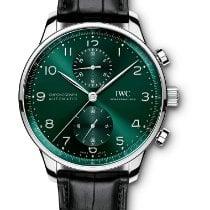 IWC Portuguese Chronograph Stål 41mm Grön Arabiska