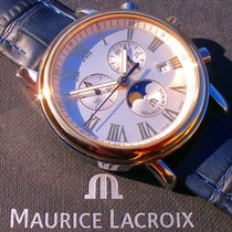Maurice Lacroix Les Classiques Phases de Lune gebraucht 40mm Silber Mondphase Chronograph Datum Leder