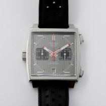 TAG Heuer Monaco Calibre 11 pre-owned 39mm Grey Chronograph Date Leather