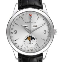 Jaeger-LeCoultre Master Calendar pre-owned 39mm Silver Moon phase Date Weekday Month Leather