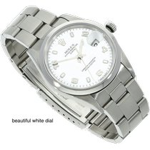 Rolex Oyster Perpetual Date Aço 34mm Branco Árabes
